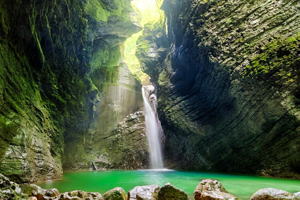Beautiful waterfall Kozjak in Slovenia